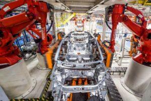 Linha de produção de veículos da Fiat